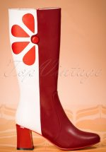 60s Strawberry Fields Forever Boots in Burgundy and Cream