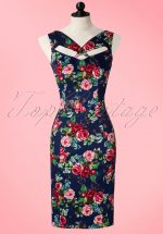 50s Etta Floral Pencil Dress in Navy