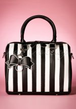 50s Lovely Viola Small Handbag in Black and White Stripes