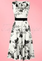 TopVintage Exclusive ~ 50s Veronique Floral Swing Dress in White