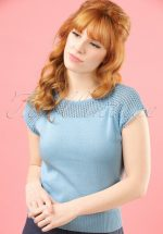 40s Claire Knitted Top in Bluebell