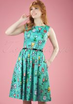 50s Audrey Cocktail Swing Dress in Petrol Blue